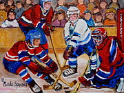 Hockey In Montreal Paintings - Hockey Game Scoring The Goal by Carole Spandau