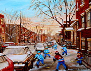 Montreal Buildings Painting Prints - Hockey Gameon Jeanne Mance Street Montreal Print by Carole Spandau