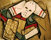 Vintage Hockey Player Posters - Hockey Goalie Poster by Tommervik
