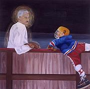 Hockey Painting Posters - Hockey God Poster by Yack Hockey Art