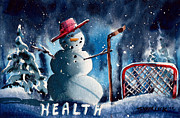 Snow Scene Mixed Media Prints - Hockey Health Print by Ray Swaluk