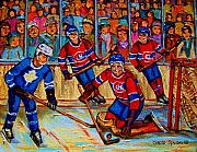 Hockey Prints Posters - Hockey  Hero Poster by Carole Spandau