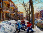 Urban Winter Scenes Framed Prints - Hockey On De Bullion  Framed Print by Carole Spandau