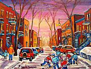 Montreal Stores Painting Prints - Hockey On Hotel De Ville Street Print by Carole Spandau