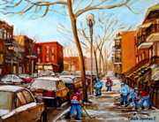School Houses Painting Posters - Hockey On St Urbain Street Poster by Carole Spandau