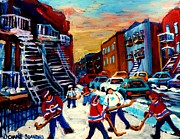 Hockey Paintings Of Montreal St Urbain Street City Scenes Print by Carole Spandau