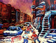 Hockey Paintings Of Montreal St Urbain Street Winterscene Print by Carole Spandau
