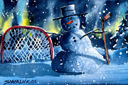 Snow Scene Mixed Media Prints - Hockey Print by Ray Swaluk
