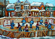 Hockey Painting Framed Prints - Hockey Rink Montreal Street Scene Framed Print by Carole Spandau