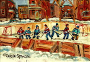 Hockey On Frozen Pond Paintings - Hockey Rinks In Montreal by Carole Spandau