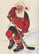 Skating Drawings - Hockey Santa by Todd  Peterson