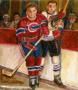 Kids Playing Hockey Paintings - Hockey Stars At The Forum by Carole Spandau