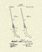 Patent Artwork Drawings Metal Prints - Hockey Stick McNiece 1916 Patent Art Metal Print by Prior Art Design