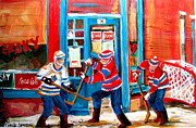 Kids Playing Hockey Paintings - Hockey Sticks In Action by Carole Spandau