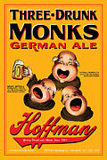 Monks Drawings - Hoffman Three Drunk Monks by John OBrien