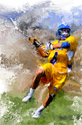 Lacrosse Paintings - Hofstra Lacrosse Shot by Scott Melby
