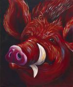 Red Pig Posters - Hog Fan Poster by Shawna Elliott