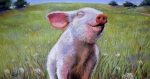 Farm Animals Pastels Prints - Hog Heaven Print by Susan Jenkins