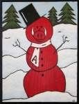 Razorbacks Prints - Hog Snowman Print by Amy Parker