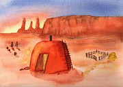 Arizona Artist Originals - Hogan in Monument Valley by Sharon Mick