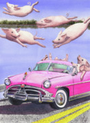 Pig Framed Prints - Hogs in a Hot Pink Hudson Hornet Framed Print by Catherine G McElroy