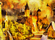 Surreal Landscape Painting Metal Prints - Hogwarts Metal Print by George Rossidis