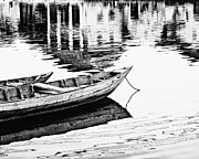 White River Scene Posters - Hoi An Fishing Boats Poster by Skip Nall