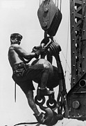 Young Man Photo Framed Prints - Hoist Ride Framed Print by Lewis W Hine