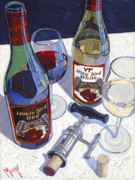 Red Wine Painting Posters - Hokie Bird Red and White Number One Poster by Christopher Mize
