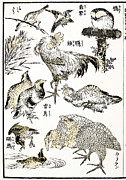 Manga Metal Prints - Hokusai: Birds Metal Print by Granger