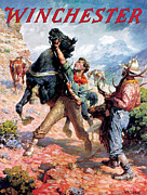 Old West Painting Prints - Hold Em Steady Print by W R Leigh