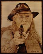Cowboy Pyrography Originals - Hold It Right There by Jo Schwartz