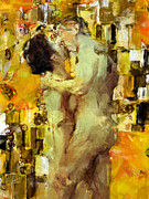 Abstract Nude Prints - Hold Me Tight Print by Kurt Van Wagner