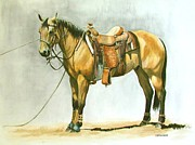Roping Horse Paintings - Holdin the Line by Lori Lamberson