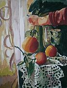 Oranges Painting Originals - Holding   an Orange by Aleksandra Buha