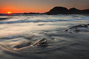 Red Sky Prints - Holding Back the Sea Print by Mike  Dawson