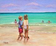 Kids Playing At Beach Prints - Holding Hands Print by Patricia Piffath