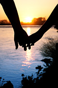 Cindy Singleton Prints - Holding Hands Silhouette Print by Cindy Singleton