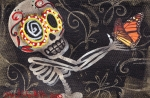 Skeleton Paintings - Holding Life by  Abril Andrade Griffith