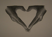Hand Drawings Framed Prints - Holding Love Framed Print by Martijn Opsomer