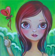 Pop Surrealism Painting Posters - Holding the Key Poster by Jaz Higgins