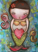 Seahorse Paintings - Holding Tight by  Abril Andrade Griffith