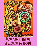 Invitations Paintings - Hole In My Head - Yiddish by Sandra Silberzweig