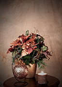 Sherry Hallemeier Art - Holiday - Christmas Holiday Arrangement with Candle by Sherry Hallemeier