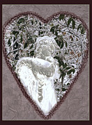 Season For Blessings Card Posters - Holiday Angel Card Poster by Debra     Vatalaro