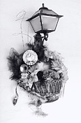 Ribbon Framed Prints - Holiday Basket on Lamp BW Framed Print by Linda Phelps