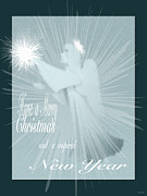 Season For Blessings Card Posters - Holiday Card Angel  Poster by Debra     Vatalaro