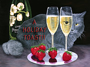 Glass Table Reflection Painting Originals - Holiday Champagne Toast by Karen Zuk Rosenblatt