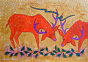 Ribbon Drawings Prints - Holiday Deer Print by Susan Greenwood Lindsay