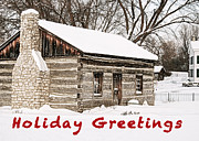 Log Home Posters - Holiday Greetings Poster by Michael Peychich